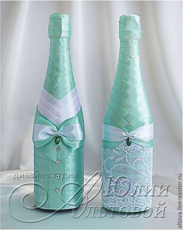 Украшение бутылок шампанского на свадьбу - экономия