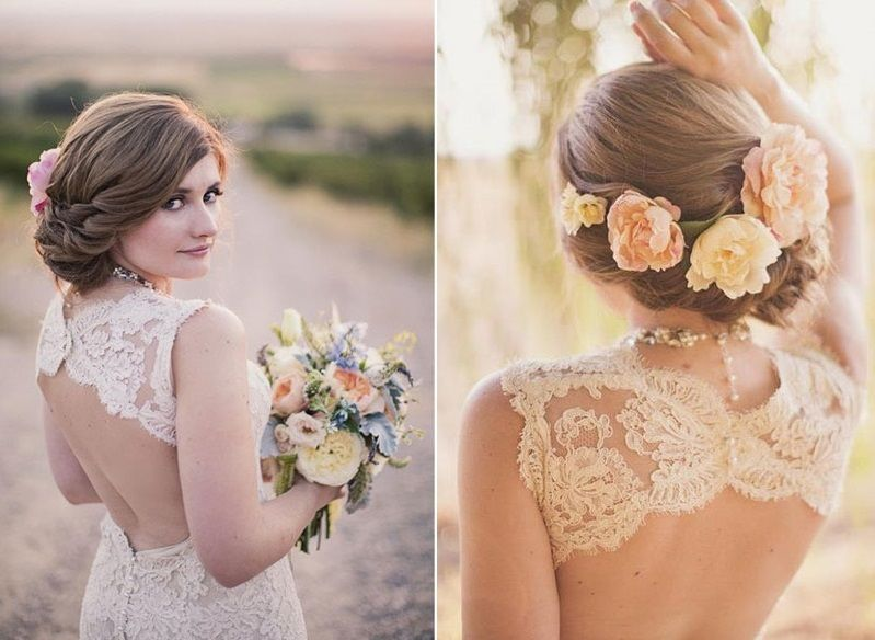 Цветы на свадьбу в прическу