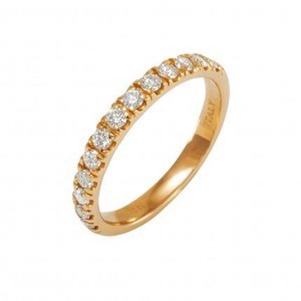 Кольцо из красного золота с бриллиантами в ряд