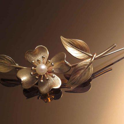 Винтажная брошь Golden flower-Золотой цветок