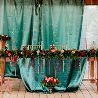 Свадьба в стиле Бохо Марсала Мини-отель Таежный Президиум Стол молодых Стол молодоженов
