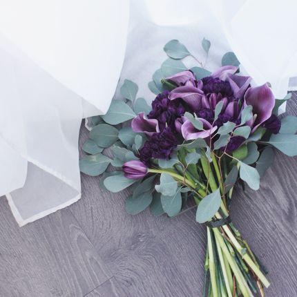 Букет невесты из калл, гвоздик, тюльпанов