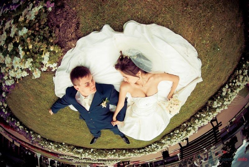 Жених и невеста, взявшись за руки, лежат на траве  - фото 50337 Sabinulya