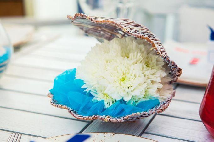 Цветочная ракушка(цветочная композиция на столах гостей)