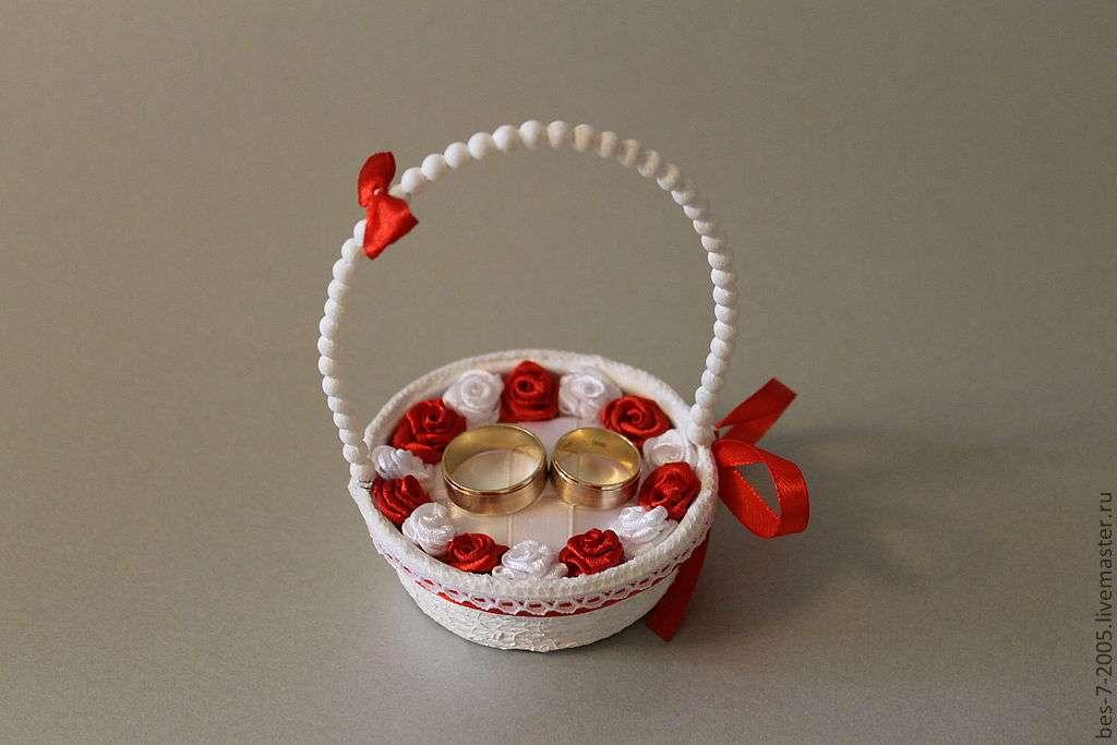 Корзиночка для колец на свадьбу своими руками фото 15