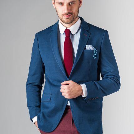 Приталенный синий пиджак