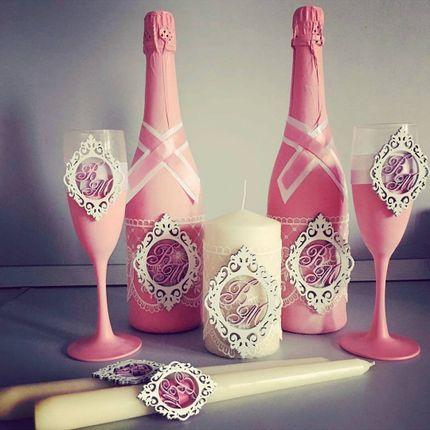 Декоративные элементы для украшения бутылок, свечей, бокалов и казны