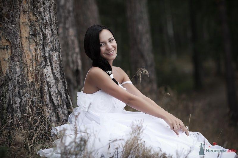 Невеста в белом длинном платье сидит возле дерева в лесу - фото 58242 Юлия14