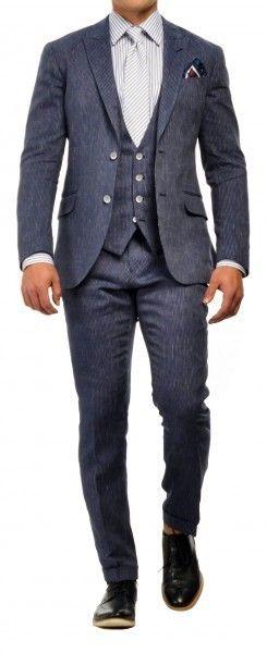 Льняной костюм-тройка в полоску Gagliardi