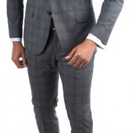 Серый мужской костюм в клетку Gagliardi