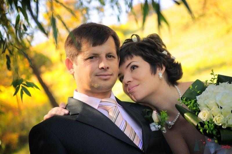 Жених и невеста стоят, прислонившись друг к другу, стоят в лесу - фото 57636 Солнышонок