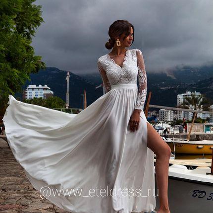 Белое платье с кордовым кружевом