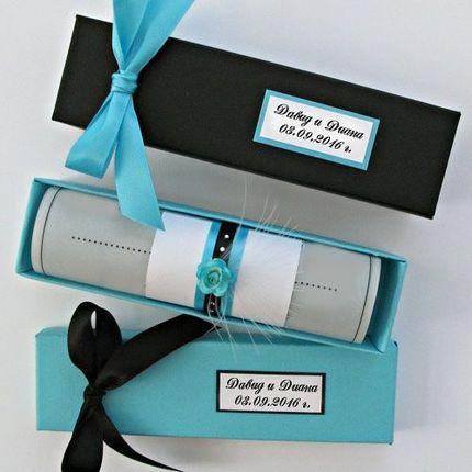 Приглашение-свиток в коробке, цена за 1 шт
