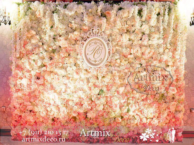 """Фотозона (стена из цветов)  на свадьбу - фото 12470516 Дизайн-студия декора и флористики """"Артмикс"""""""
