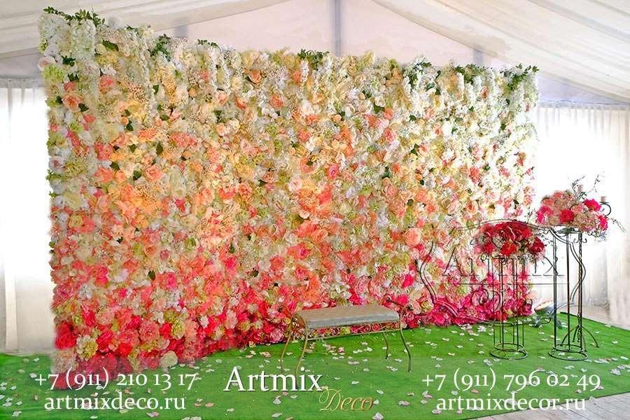 """Фотозона из цветов 4.5 метра  - фото 14287586 Дизайн-студия декора и флористики """"Артмикс"""""""
