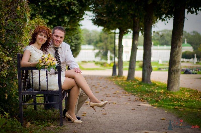 Жених и невеста сидят на скамейке, прислонившись друг к другу, на фоне зелени - фото 43086 Рыжий Катенок