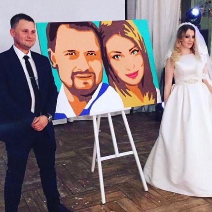 Художник рисует регистрацию брака