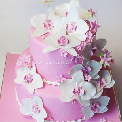Свадебный торт с орхидеями, цена за 1 кг
