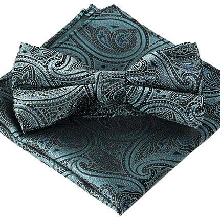 Комплект галстук-бабочка и платок бирюзовый с восточным цветочным узором