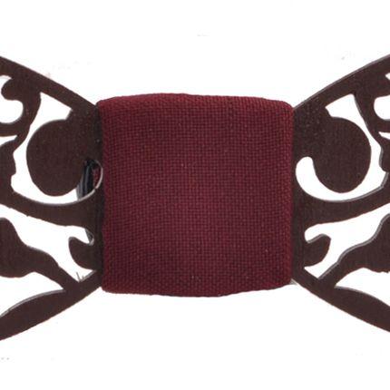 Галстук-бабочка деревянная ручной работы резная с бордовой серединой