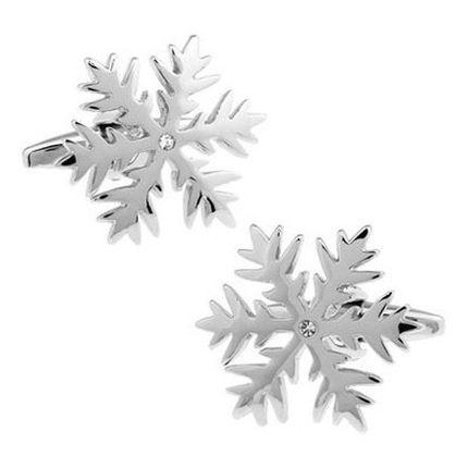 Запонки снежинки