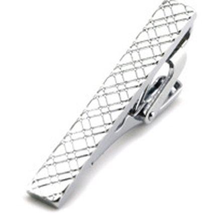 Зажим для галстука стальной в ромбик
