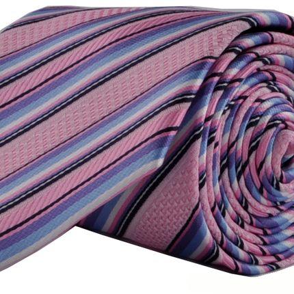 Галстук розовый в косую широкую полоску