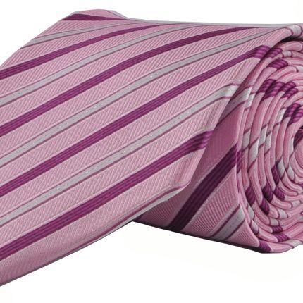 Галстук классический розовый в фиолетовую полоску