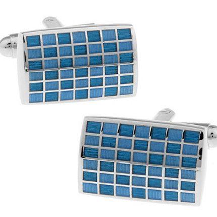 Запонки классические голубые в клетку