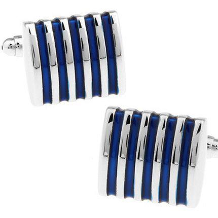 Запонки стальные в голубую полоску