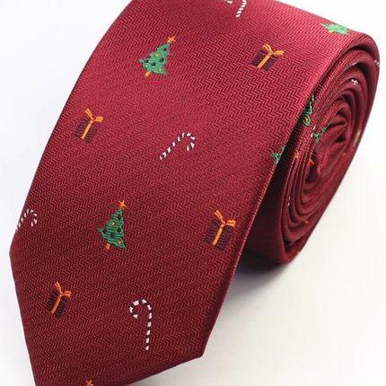 Галстук новогодний бордовый с елками и подарками