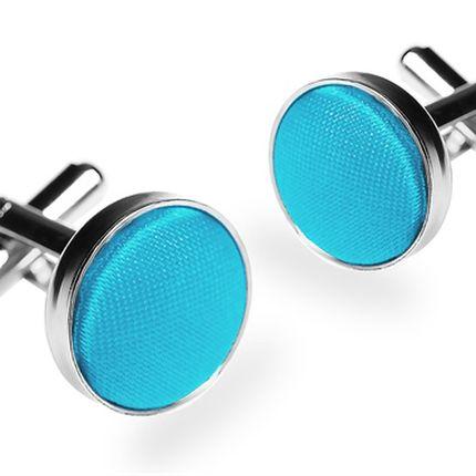 Запонки однотонные ярко-голубые