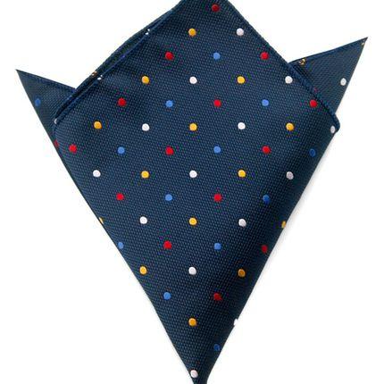 Нагрудный платок темно-синий в разноцветный горошек