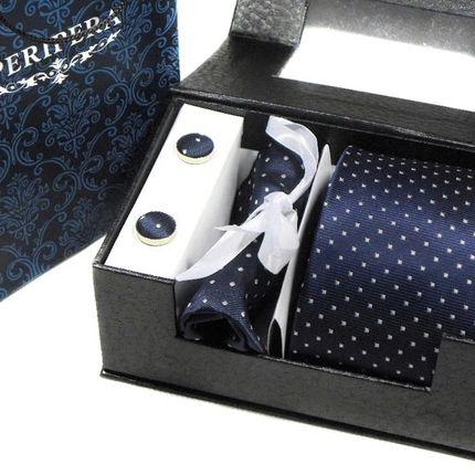 Комплект: галстук, запонки, платок темно-синий в горошек