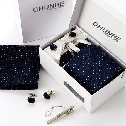 Комплект: галстук, запонки, платок, зажим темно-синий в точку