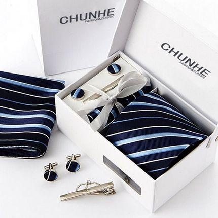 Комплект: галстук, запонки, платок, зажим синий в полоску