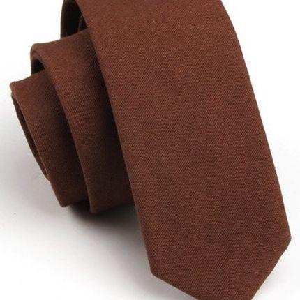 Галстук матовый однотонный коричневый