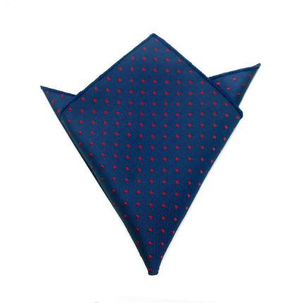 Нагрудный платок синий в красный горошек