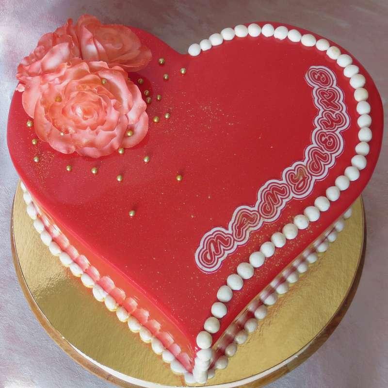 как картинки торт сердечком на именины оформление фото ниже представлен