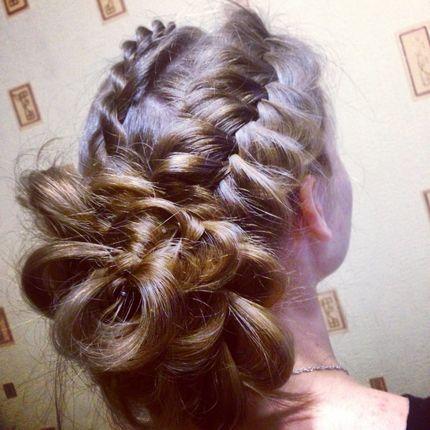 """Причёска для длинных волос """"Роза"""""""