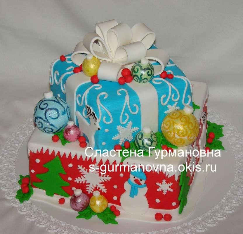 """Новогодний торт с шарами, 4,7кг, внутри чизкейк рафаэлло - фото 14552508 Кондитерская """"Торты от Сластёны Гурмановны"""""""