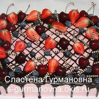 Торт на выпускной в детском саду, 4кг, ягоды, шоколадная глазурь, внутри фруктово-ягодный