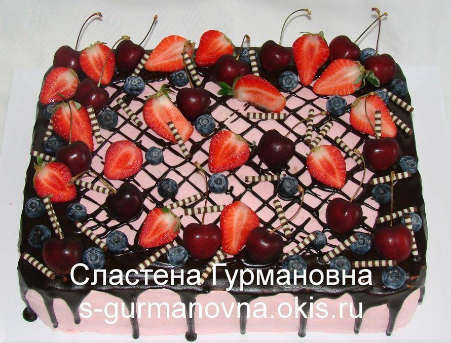 """Торт на выпускной в детском саду, 4кг, ягоды, шоколадная глазурь, внутри фруктово-ягодный - фото 14552544 Кондитерская """"Торты от Сластёны Гурмановны"""""""