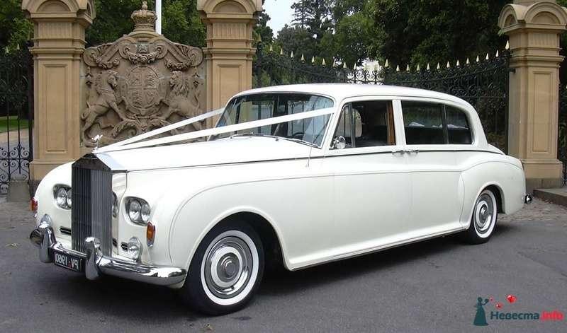 """Белый """"Rolls-Royce"""", украшенный лентами на фоне каменного и кованного забора. - фото 129821 Black and White Cars - аренда лимузинов"""