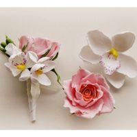Комплект цветы в причёску и бутоньерка из полимерной глины
