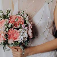 """Букет невесты из полимерной глины """"Персиковый крем"""""""