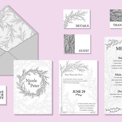 Приглашения на свадьбу в минималистичном стиле, цена за 1 шт