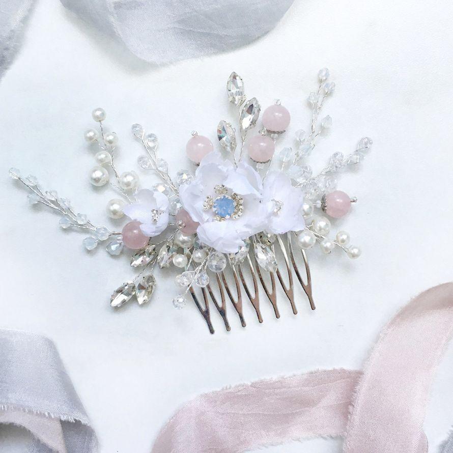 Шелковые Цветы ручной работы, кристалл Сваровски, стеклянные бусины, розовый кварц, японский бисер, ювелирная проволока с серебряным напылением  1900₽ - фото 16425898 Bead brad accessories - свадебные украшения