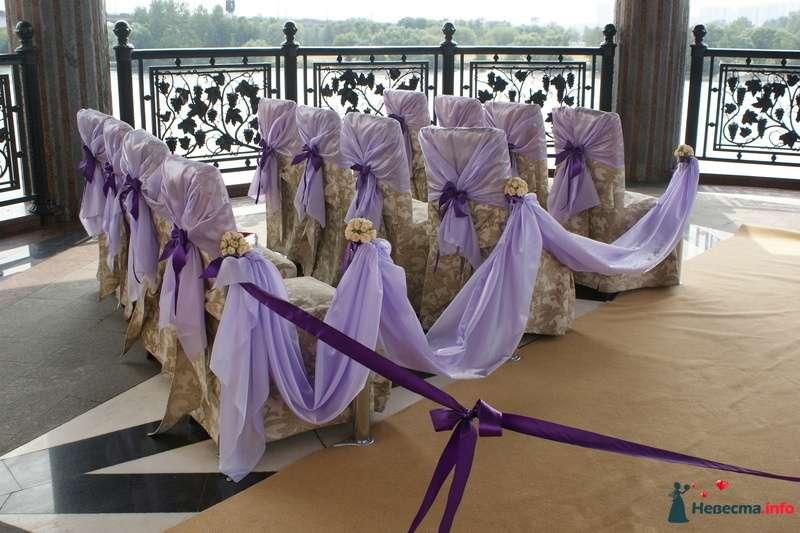 Стулья для гостей на выездной свадебной церемонии, украшенные сиреневыми чехлами и фиолетовыми  бантами - фото 129736 Вашкетова Юлия - организатор свадеб, флорист.