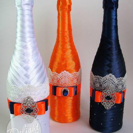 Свадебное шампанское с брошами
